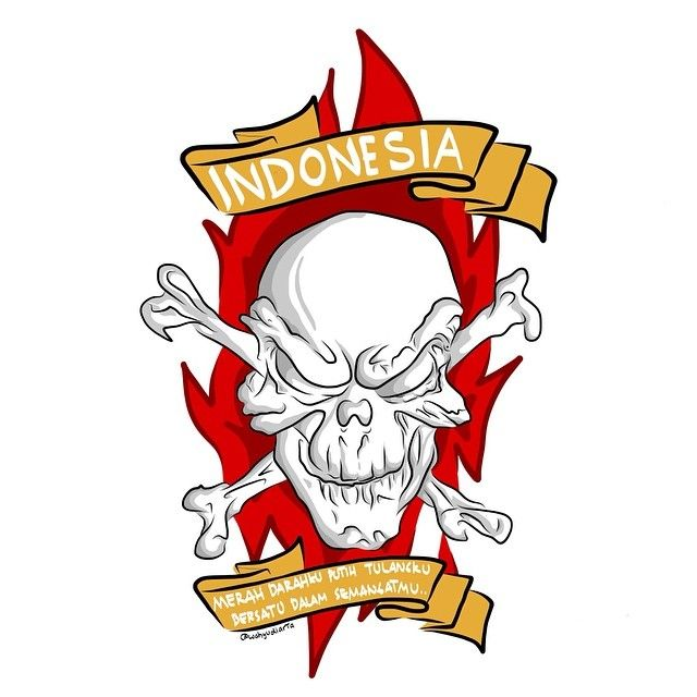 INDONESIA merah darahku putih tulangku bersatu dalam semangatmu #indonesia #HUTRI69 #art #artwork #artworkoftheday #draw #drawing #illustration #design #graphicdesign #vectorart #skull #wahyudiarta #seni #ilustrasi #desain #gombloh #kebyarkebyar