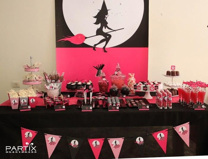 Witch Themed 9th Birthday Party with So Many Darling Ideas via Kara's Party Ideas | The Dessert Table & Backdrop