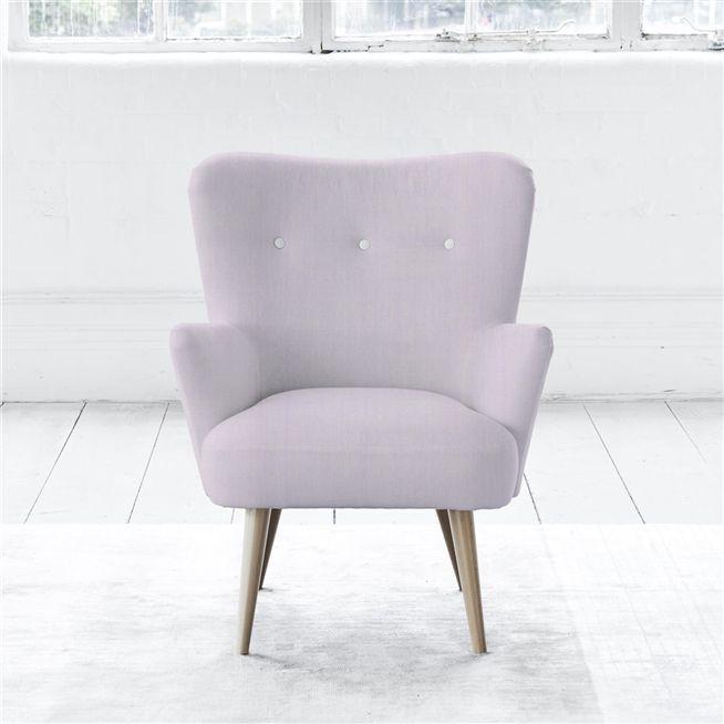 Florence Chair - White Buttons - Beech Leg - Brera Lino Pale Rose