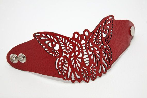 Butterfly laser cut leather bracelet | Laser Cut Leather, Leather ...