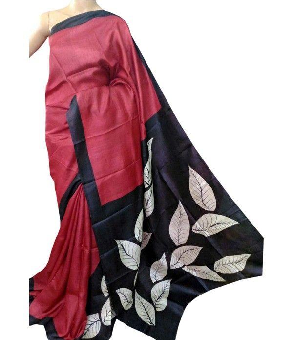 Red HandPainted Tussar Silk Saree