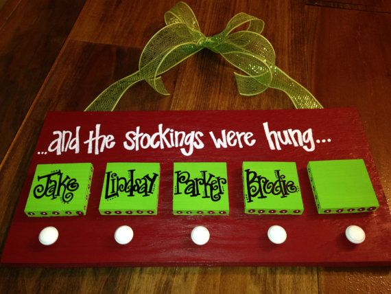 Personalized Christmas Stocking Hanger by YouMeandThree on Etsy, $32.00