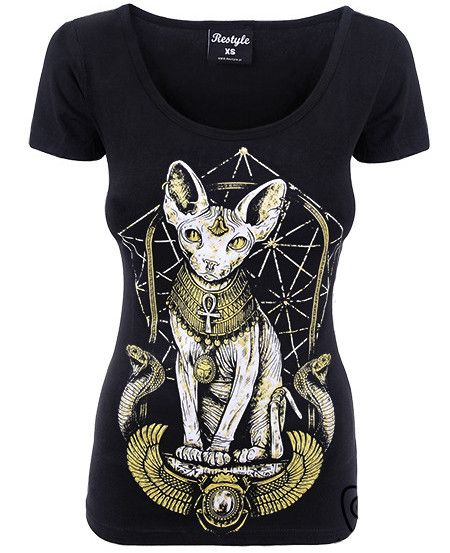 Camiseta Egyptian Sphinx #restyle #moda #gotica #ropa #gato #xtremonline