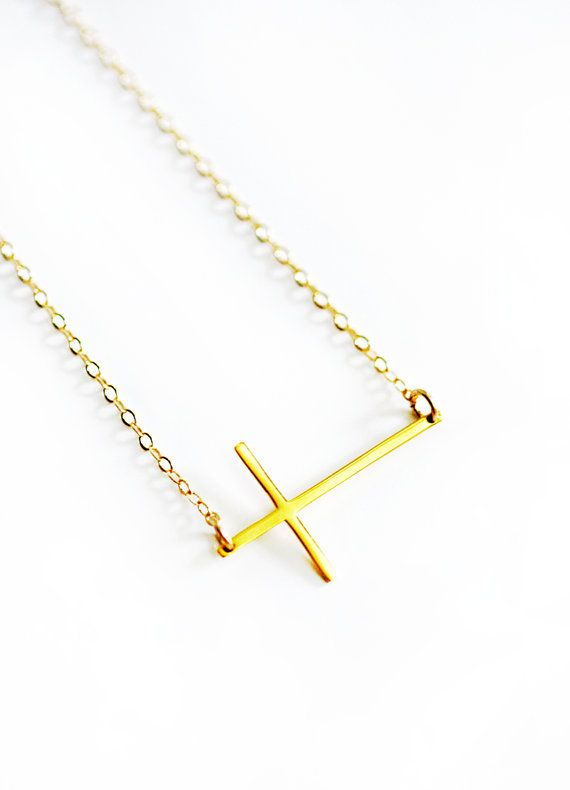 GOLD seitlich Kreuz Halskette von keijewelry auf Etsy
