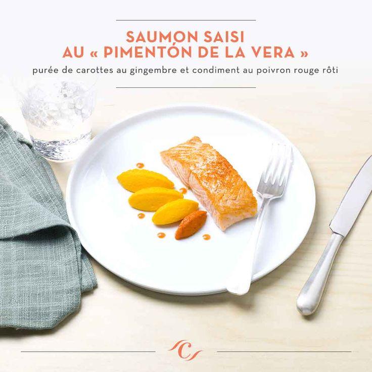 [Carte Enchantement Quotidien] Saumon saisi au « Pimentón de la Vera », purée de carottes au gingembre et condiment au poivron rouge rôti #ChefCuisine #MonChefCuisine #gastronomiealamaison #gastronomie #AnneSophiePic #food #cordonbleu #french #chef #foodie