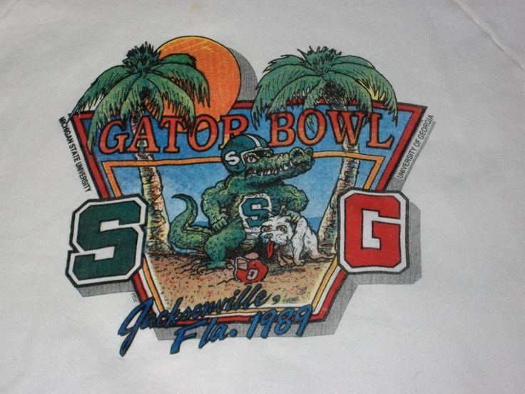 VTG Gator Bowl 1989 Sweat Shirt Michigan State Spartans Georgia Bulldogs. Pinned by Judi Crowe.