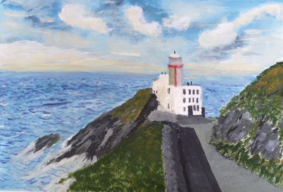 Original Irish watercolour painting featuring Baily Lighthouse in Howth, Dublin, Ireland, and seascape on an Irish summers day.  painted in