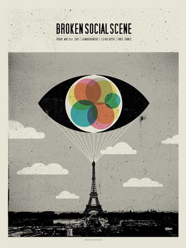 Broken Social Scene Paris concert poster by Concepcion Studios (SOLD OUT)  Can you imagine if we made a vinyl record big enough to spin on the tip of the tower?