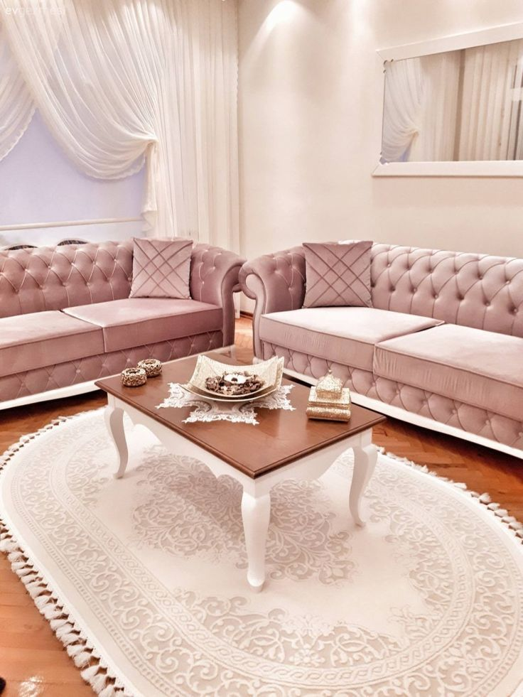 wood chesterfield carpet coffee table pink curtain living room