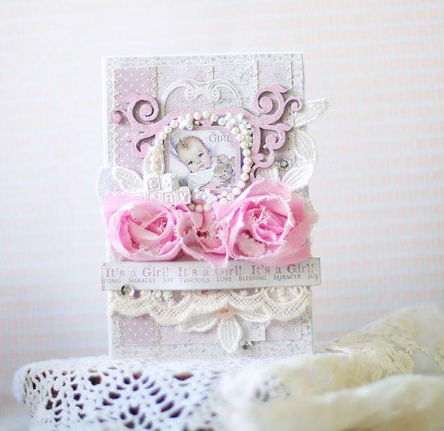 Две детские открытки для *Maja Design* #majadesign @majadesign #bluefernstudios @bluefernstudios #baby #card #shabbychic #cardmaking #girl #primamarketing