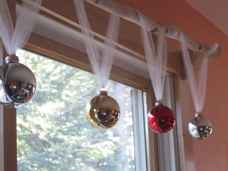 Diy holiday window treatment tulle birch branch cheap