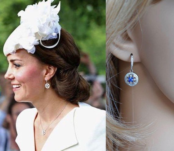 Handmade Celebrity Inspired Round Sapphire Blue and Clear Cubic Zirconia Maltese Cross Dangle Earrings, Bridal, Wedding (Sparkle-2848)