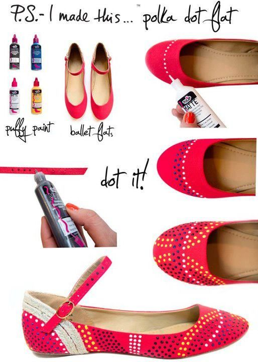 Puff Paint Shoe Re-doIdeas, Puffy Painting, Polka Dots Shoes, Dots Flats, Diy Fashion, Polka Dot Shoes, Diyfashion, Ballet Flats, Crafts