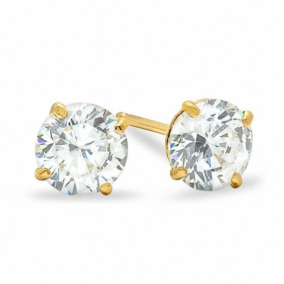 5mm Cubic Zirconia Stud Earrings In 10k Gold Piercing Pagoda In 2020 Stud Earrings Earrings Gold Earrings Studs