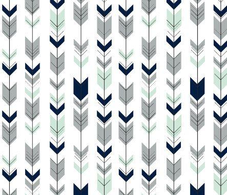 Arrows Fitted Crib Sheet Navy Blue Grey Mint Nursery