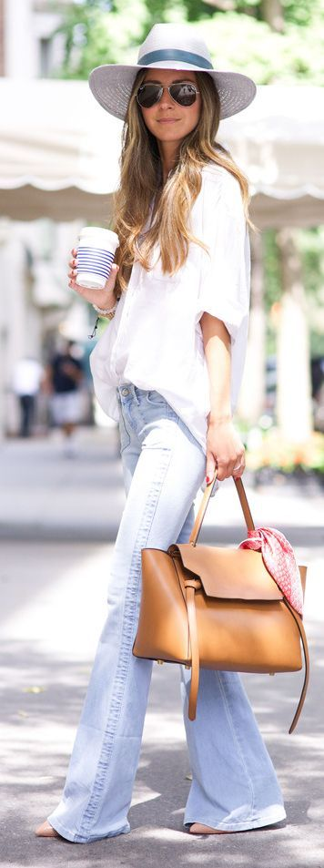 White Oversized Button Down Flared Jeans by Something Navy