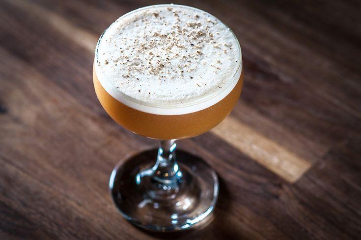 The Great Pumpkin  Ingredients: 0.75 oz. Buffalo Trace Bourbon 0.75 oz. Myers Rum 0.5 oz. Pierre Ferrand Cognac 0.75 oz. Cinnamon-Vanilla Simple Syrup 1 Egg White 1.00 oz. Pumpkin Puree