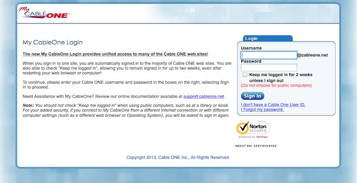 cable one login mail