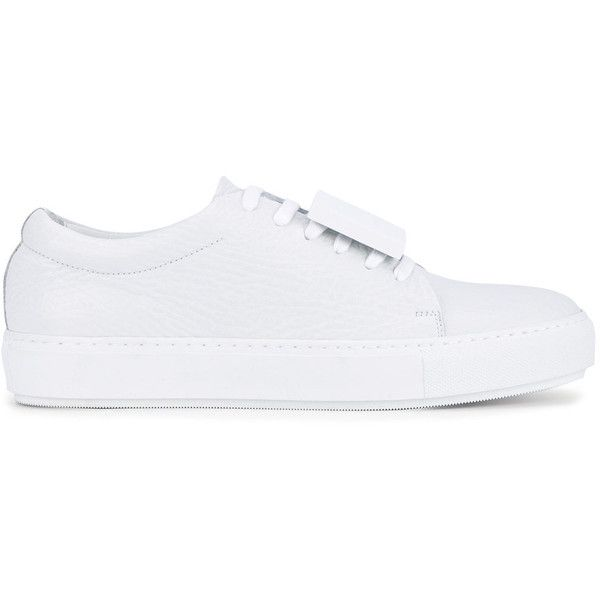 Acne Studios - Leather 'Adriana' Trainers - women - Leather - 35 ($390) ❤ liked on Polyvore featuring shoes, sneakers, white, color block shoes, lace up sneakers, white leather shoes, white leather trainers and white leather sneakers