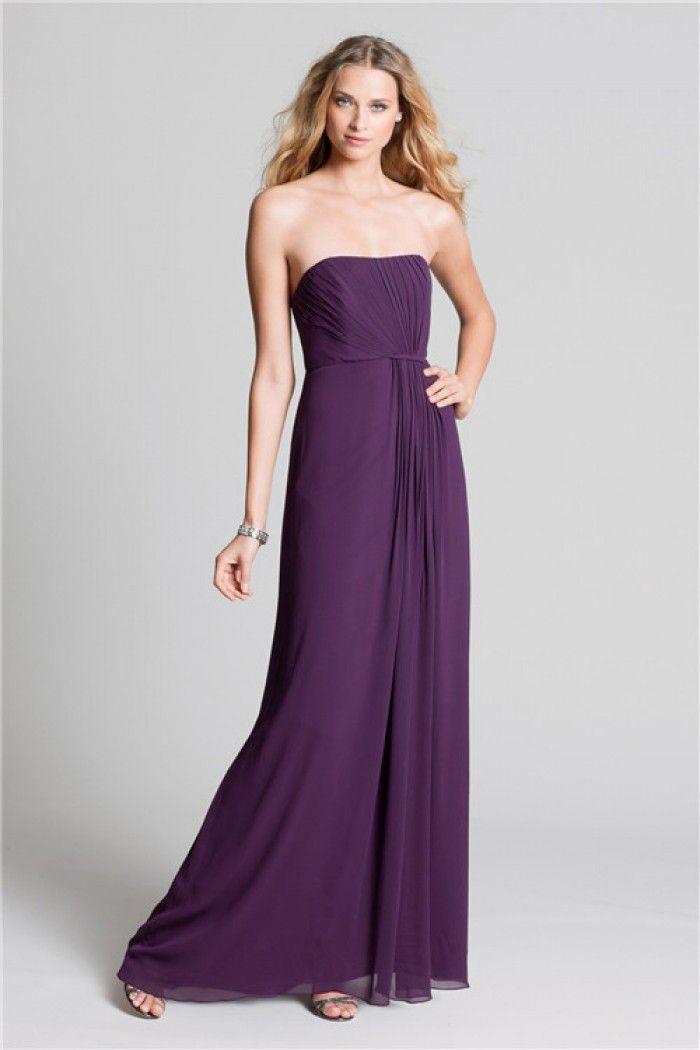 Sheath Strapless Long Purple Chiffon Draped Wedding Guest Bridesmaid Dress