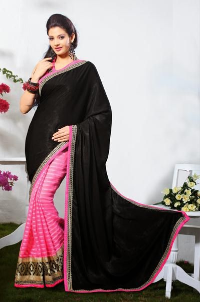 USD 56.06 Black and Pink Silk Party Wear Saree  31889
