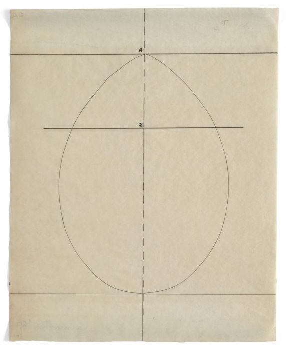Agnes Martin (Untitled) Study for The Egg- 1960