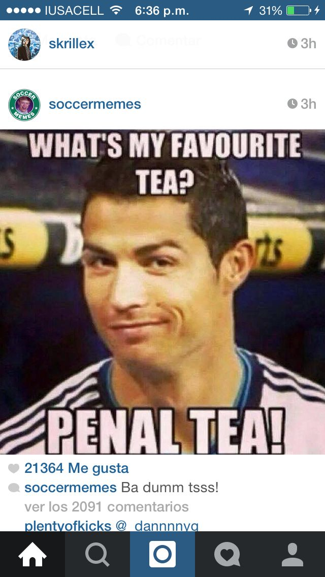Hahaha. Except when it's on our team..... Two questions!  Q: have you ever caused a penalty? A: yes. I did a hand ball, it was a reflux lol. But it was like inches away from the goal box.  Q: what's ur fav tea A: chamomile!! I'll pick 2 RANDOM people to shout out in my next soccer post! You must answer one of the questions!