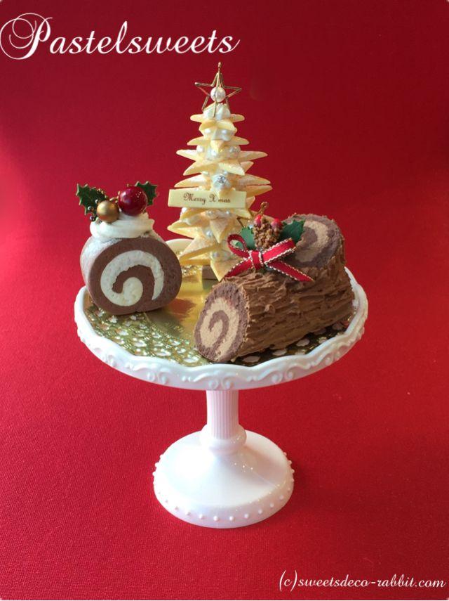 パステルスイーツのシーズナルレッスンのサンプル作品です。  #Pastelsweets #Xmas #Christmas #クッキーツリー #ロールケーキ #bûche de Noël #ブッシュドノエル