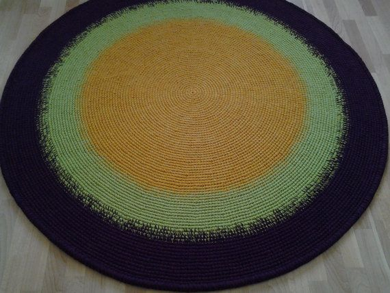 Large crochet round rug 69'' 176 cm/Crochet by AnuszkaDesign