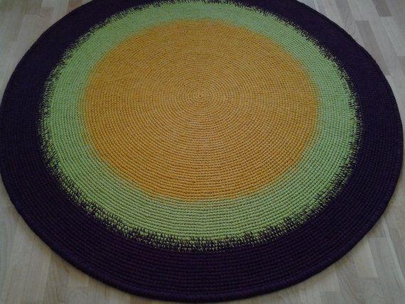 Large crochet round rug 69'' 176 cm/Crochet by AnuszkaDesign