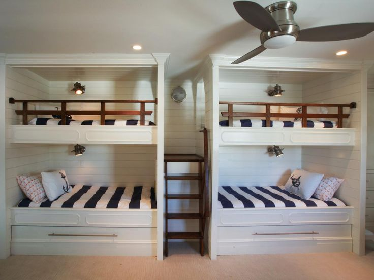 with four bunk beds and two trundle beds that can sleep up to six what