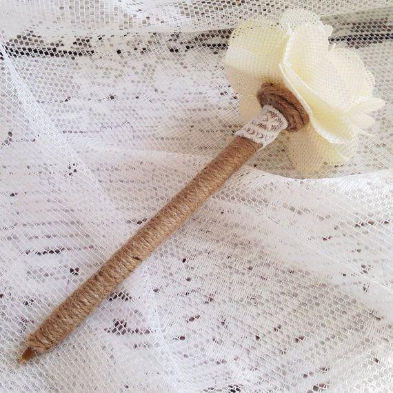 Burlap Pen, Wedding Guest Book Pen, Bridal Shower Pen, Rustic Chic Vintage Wedding on Etsy, $12.50