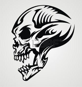 tatouage gothique: Conception de tatouage de crâne Illustration