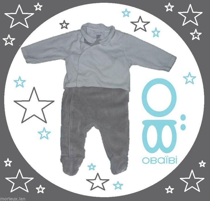 dors bien pyjamas velours 3 mois fille mixte bébé gris blans Obaibi Okaidi