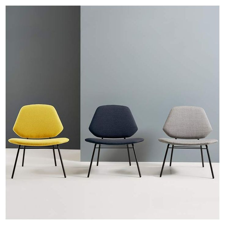 Fauteuils lounge design moutarde, bleu foncé et gris LEAN Woud