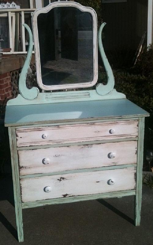 Multicolored Vanity Redo -- Redo a boring old vanity into a beautiful vintage piece. #chalkyfinish