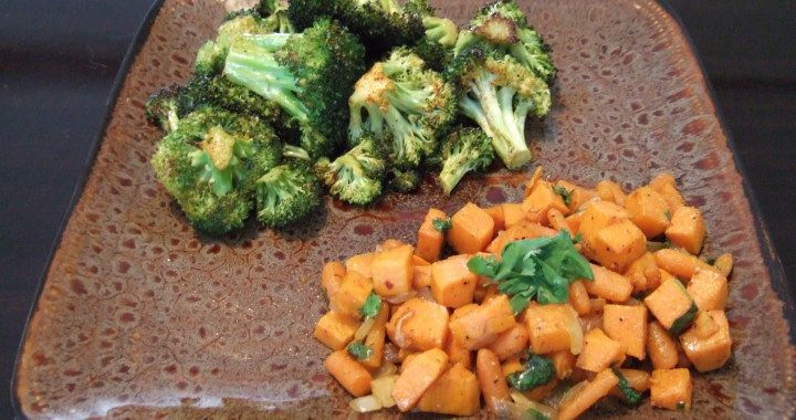 Cilantro Lime Sweet Potatoes & Carrots, with Citrus Oven Baked Broccoli
