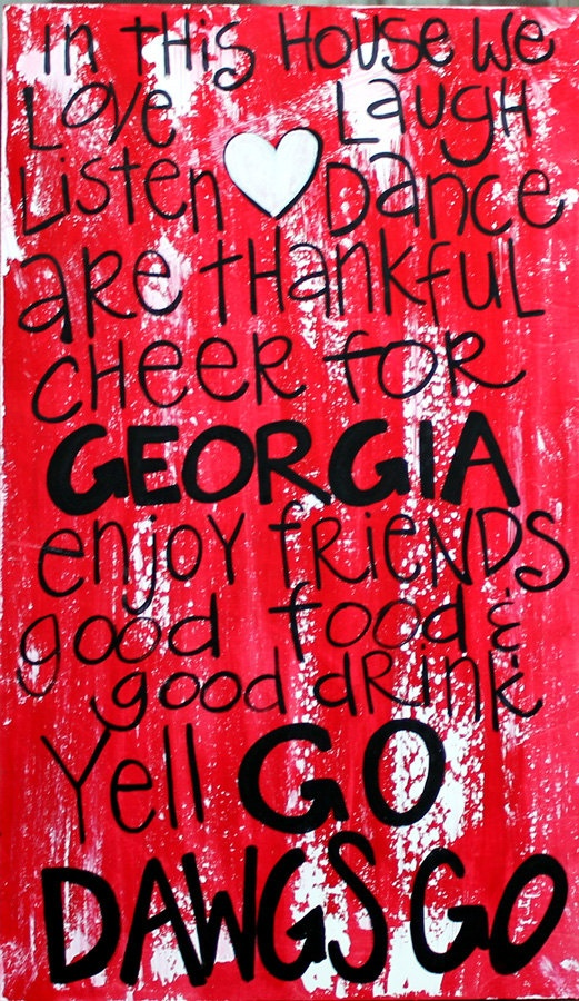 """Wooden Art, Wooden Signs, Wood Signs, College Art, Painted Sign, Wood Art, Distressed Wood Sign Art: """"Georgia Bulldogs Fun Saying"""". $45.00, via Etsy."""