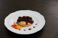Almond flour pancakes with berry syrup. (Wild rose detox d-tox cleanse) [gluten-free, dairy-free]