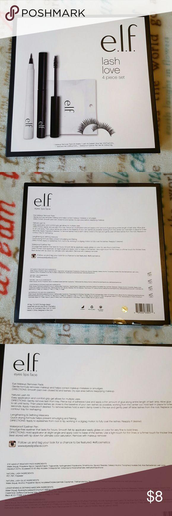 ELF lash love set 🆕 ELF lash love 4 piece set. Includes: Make up remover pads (24 ct), lashes with glue, waterproof eyeliner pen, lengthening and defining mascara. ELF Makeup