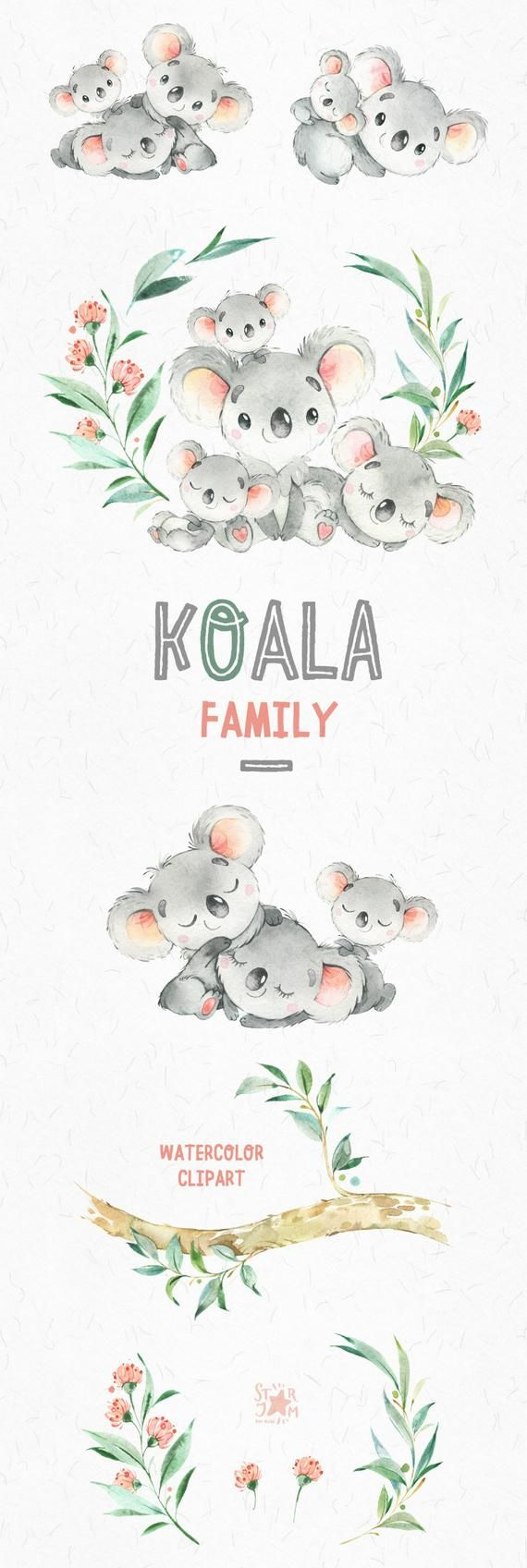 Koala-Familie. Kleine Tiere Aquarell Clipart, Australien, Koalabären, Aquarell, Blumen, Babyshower, diy, Kinder, Baby, Kinderzimmer, Liebe
