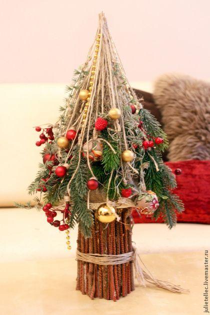 Елочка Русская Зима - бордовый,настольная елка,зима,украшение дома,оригинальная елка