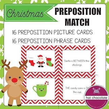Learn, review and practice prepositions of place (IN, ON, UNDER, IN FRONT OF, BEHIND, NEXT TO, BETWEEN, LEFT, RIGHT, ABOVE) with these festive matching cards. I use them with my young learners at the holidays. This download includes: -16 preposition of place picture cards -16 prepositional phrases describing the pictures.