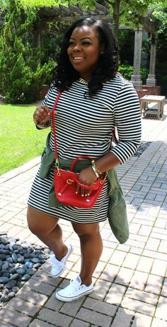 Your Curves, Your Style Dia&Co picks out fashion for you & delivers to your door. Sizes 14&up. Plus sized fashion picked just for you by your own personal stylist. Casual Plus Size fashion! Striped long sleeved cotton tshirt dress, converse . #dia&co #affilliatelink