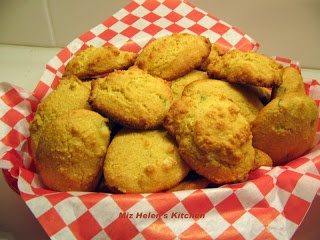 Baked Hush Puppies.    A number of years ago in an effort to prepare and present a healthier menu to my family I developed these Baked Hush Puppies.     Part of a good Southern Menu is Catfish, Cole Slaw, and Hush Puppies.   These are not the same as deep fried Hush Puppies, but they are really good.   We find them a great little grab and go snack in addition to being a healthier Hush Puppy.