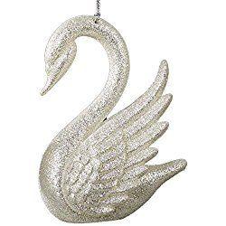 Swan Ornament Silver White by Kurt Adler Christmas Ornaments