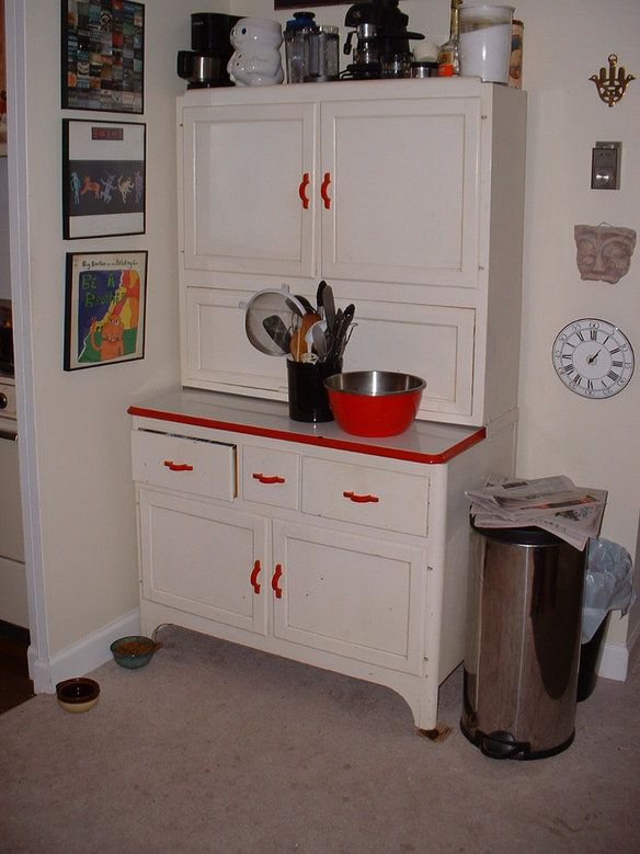 White hoosier cabinet with bright red handles drawer for Bright red kitchen cabinets