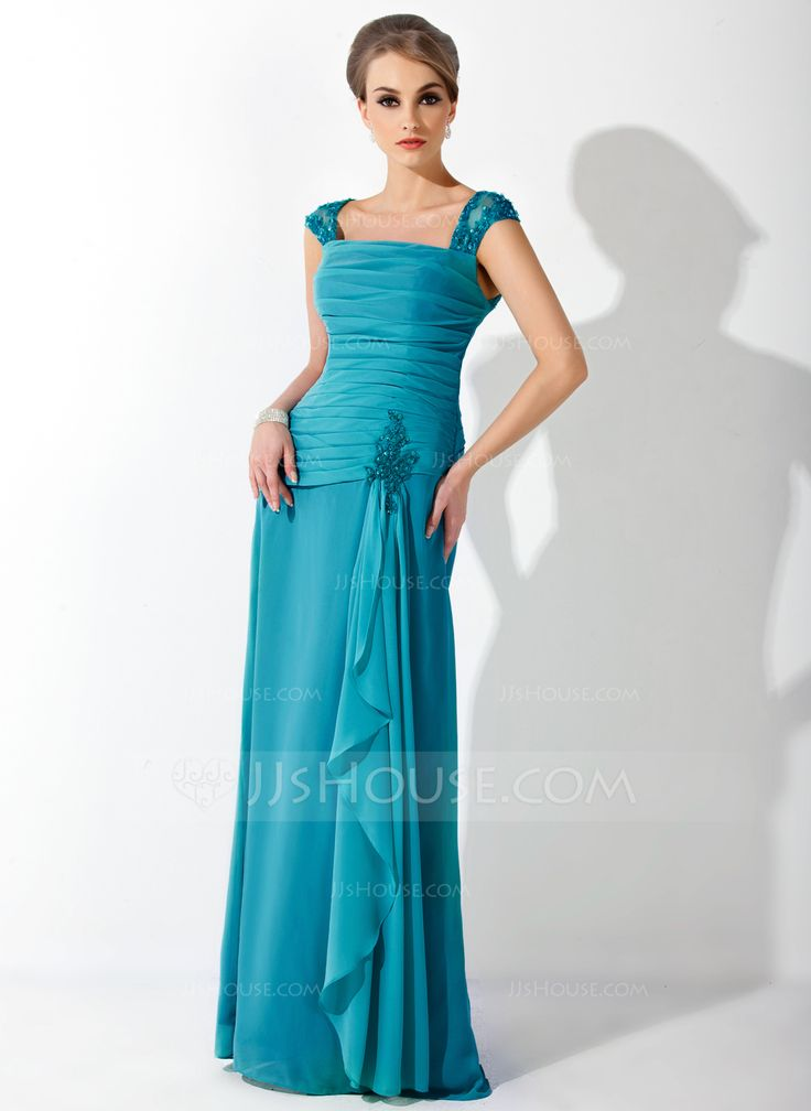 A-Line/Princess Square Neckline Floor-Length Chiffon Tulle Mother of the Bride Dress With Lace Beading Cascading Ruffles (008006222) - JJsHouse