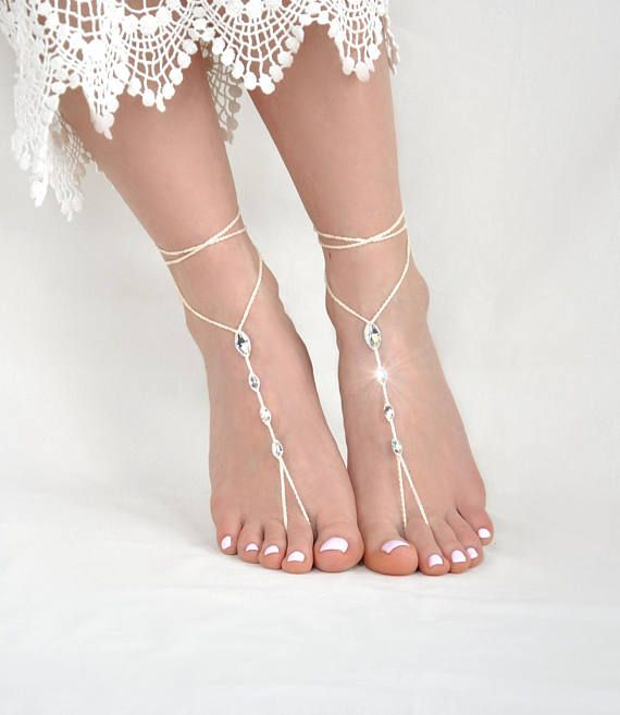 Sandalias-Dama de honor de pies descalzos marfil regalo pie