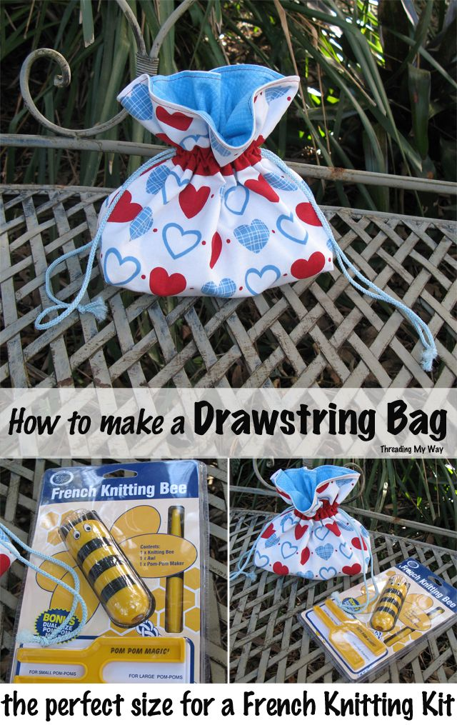 French Knitting Tutorial : Drawstring bag to hold a french knitting kit bags